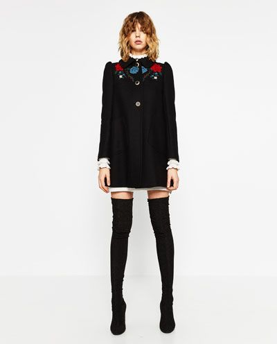 COAT WITH EMBROIDERED YOKE
