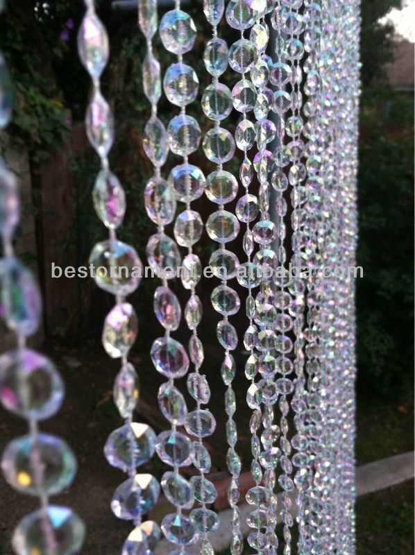 Meters Length Iridescent Crystal Beaded Curtain For Wedding - Crystal hanging room divider