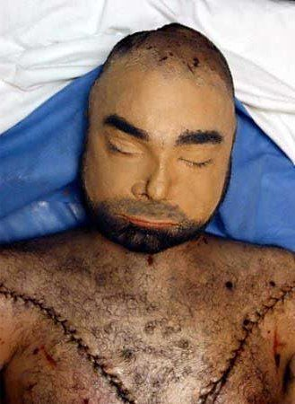 Uday Hussein with reconstructed face in Air Force morgue ...