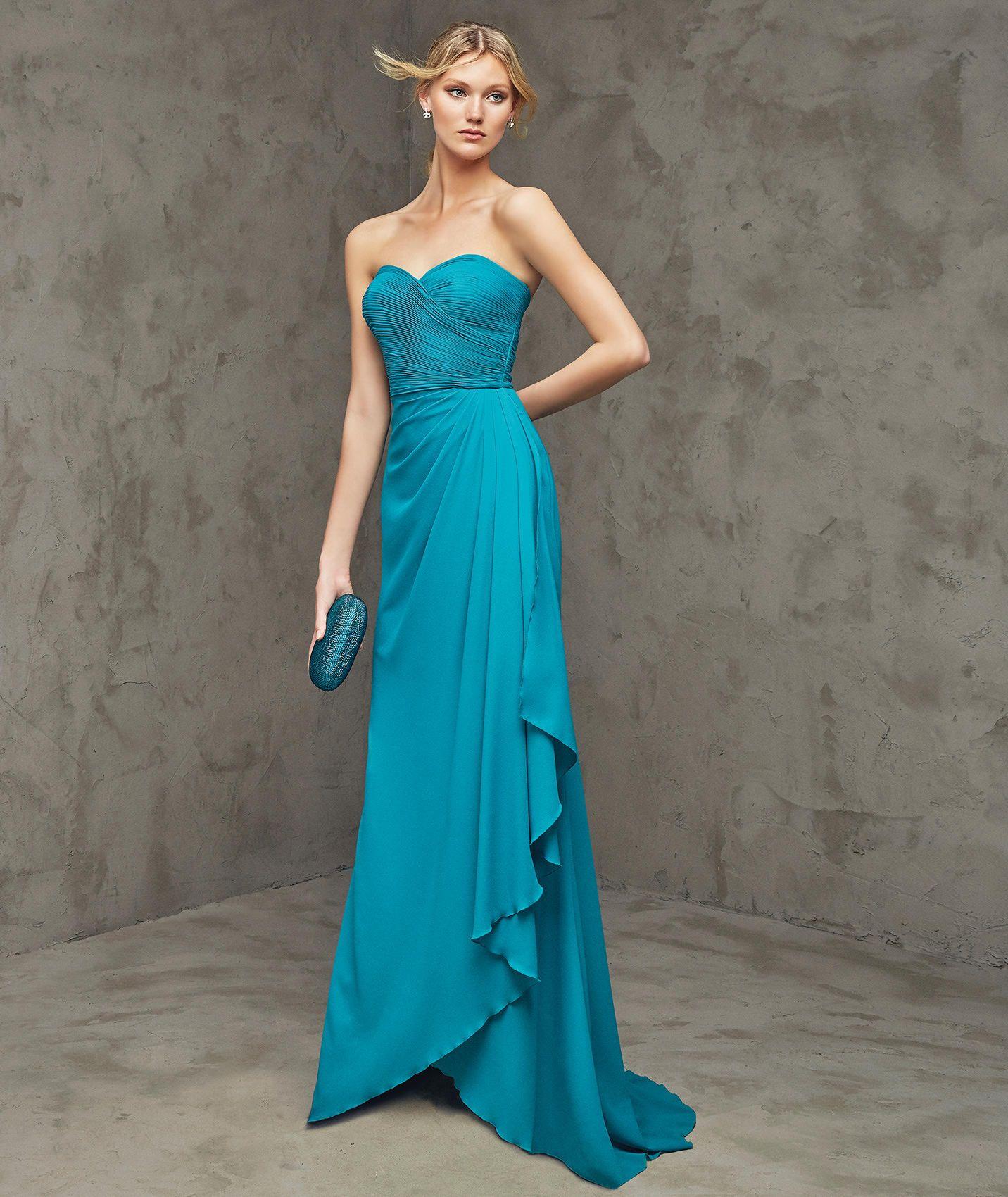 a8e314f2c8 FREYA - Uzun mavi dantel parti elbisesi