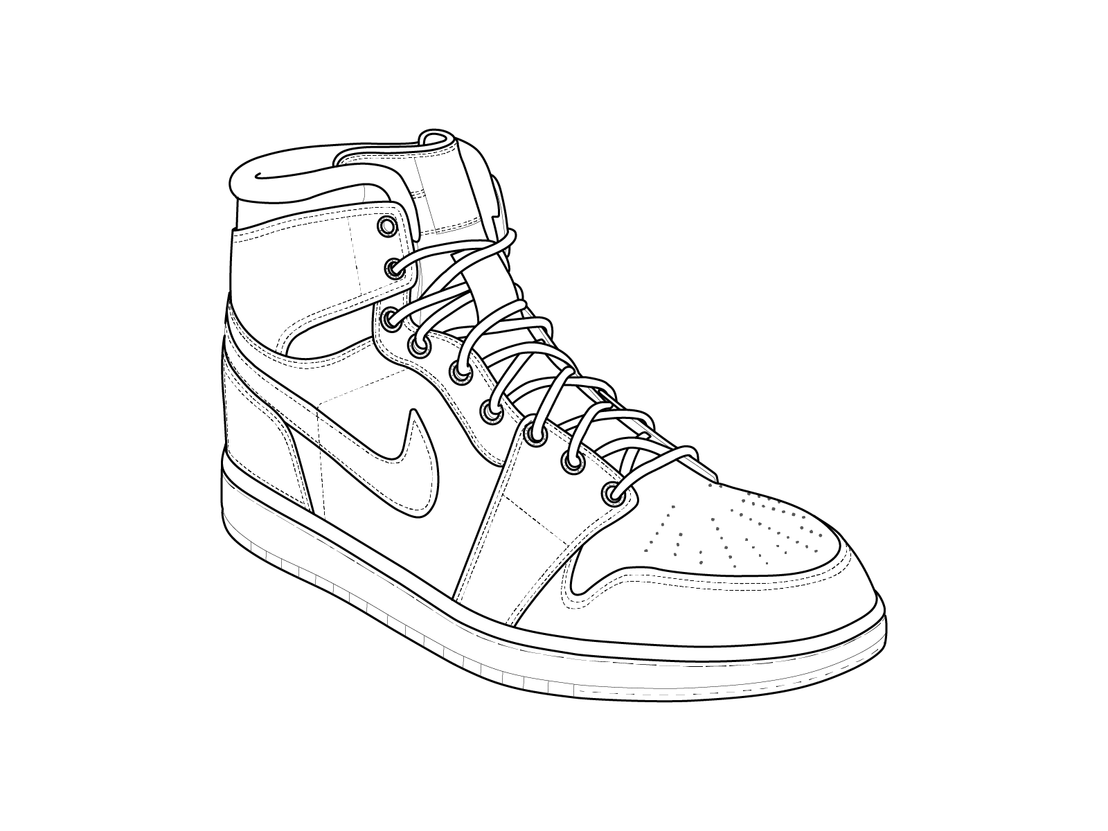 Do vector technical line art drawing Sneakers drawing