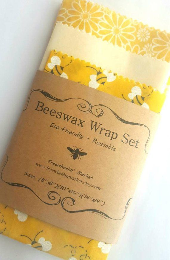 Beeswax Wrap Set  Set of 3  Yellow Flowers and Bees  Reusable Beeswax Food Wraps Natural Living Accessories  Eco friendly kitchen  zero waste
