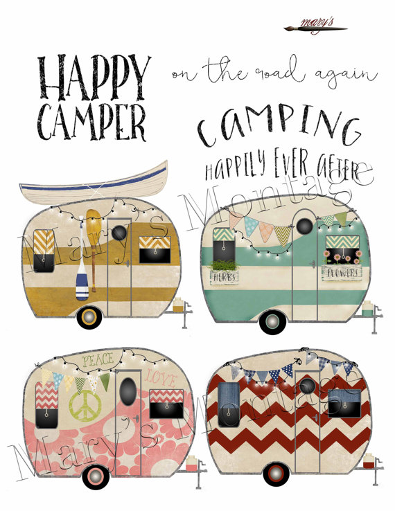 Retro Camper Clipart PNG Digital Collage Sheet 8 X By MarysMontage More