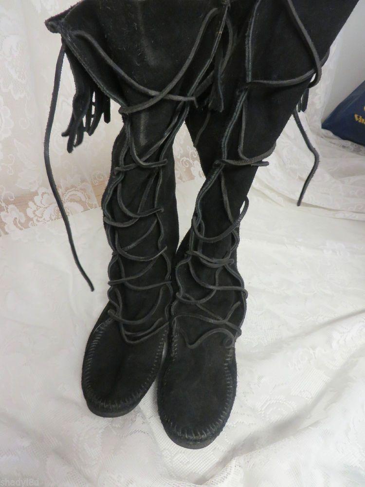 MINNETONKA MOCCASIN FRINGE KNEE High Size 7 Suede Boot EUC 1148407 #MinnetonkaMoccasin #MOCCASIN