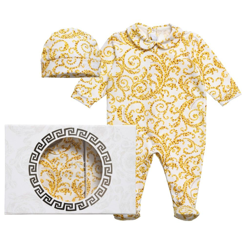 b4751a960 Young Versace Gold Barocco Babygrow   Hat Gift Set at Childrensalon ...