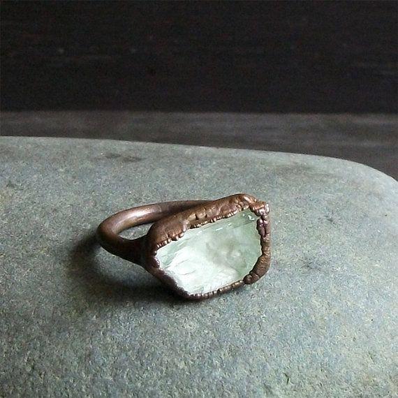Gemstone Ring Size 6 Cocktail Ring Mineral Ring Hiddenite Mint Ring Celadon Gem Stone Crystal Artisan Handmade