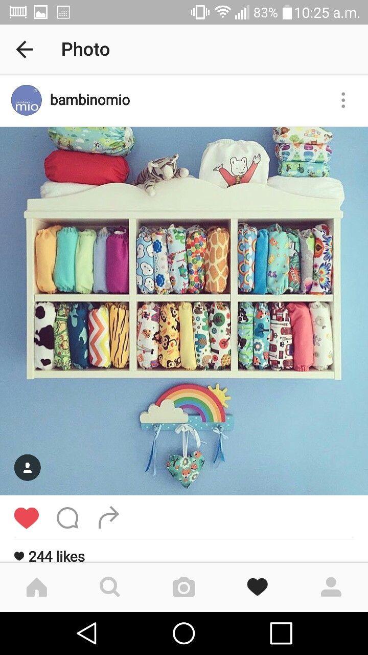 ikea shelf for nappy stash / idea for storing cloth reusable diapers / #bambinomio #miosolo