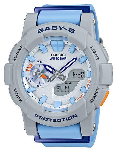 Casio Womens Baby-G Watch - Grey   Blue - Stopwatch - 100m - Analog ... 466957c81d