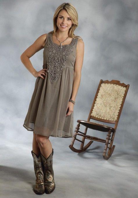 1506ebd3679 Roper® Olive Chiffon Lace Empire Waist Sleeveless Western Dress