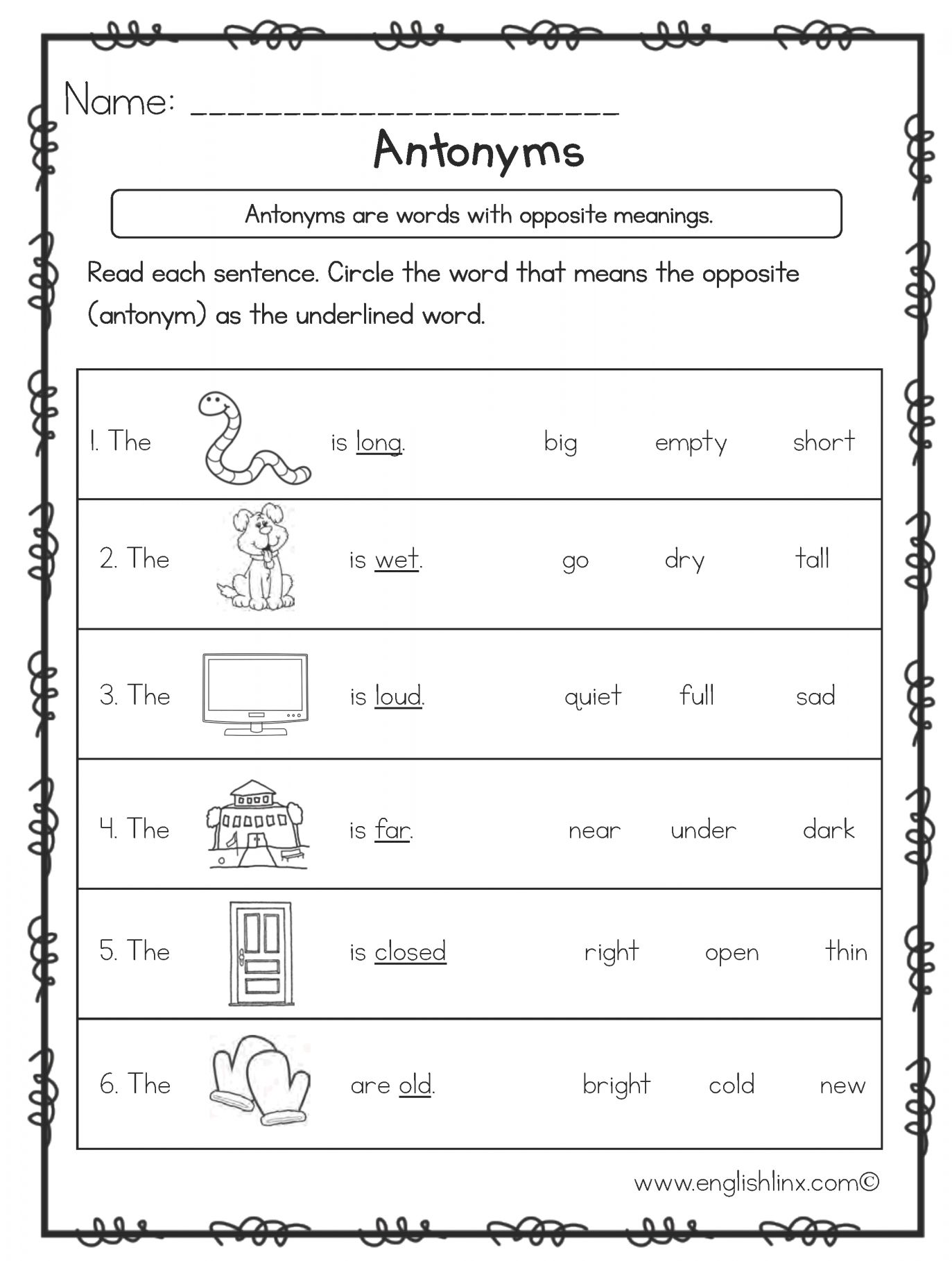 7 Antonyms Worksheet For Kindergarten