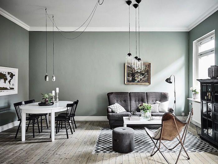 murs peinture vert de gris céladon dans un salon salle à manger