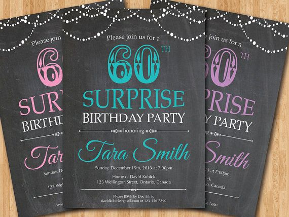 Surprise 60th birthday invitation Chalkboard Surprise Birthday