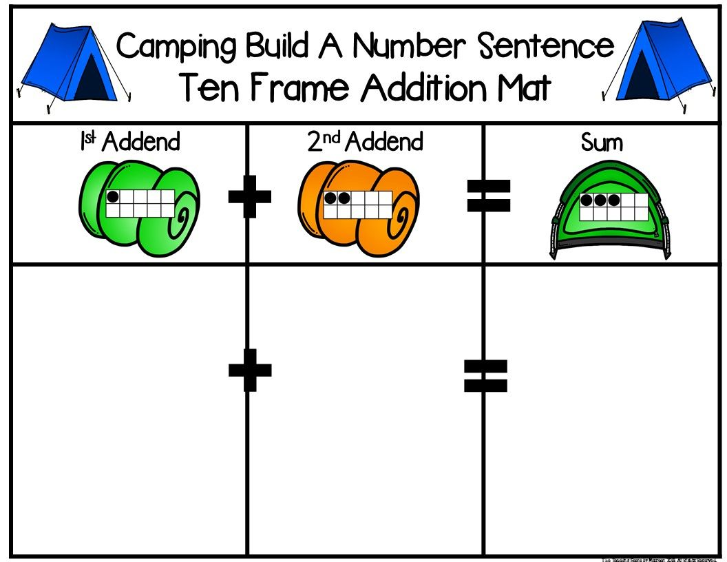 Camping Build A 2 Addend Number Sentence With Ten Frames