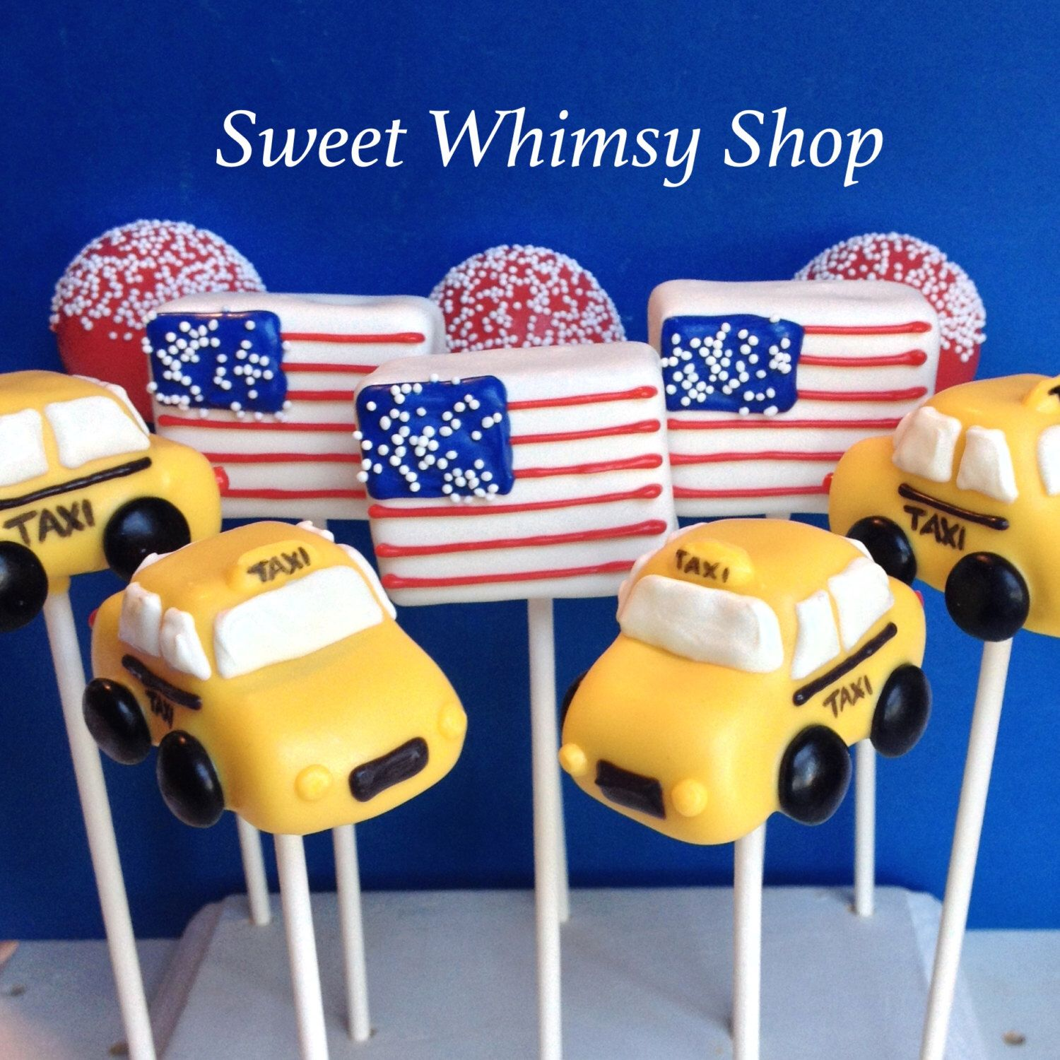 12 NYC Taxi & American Flag Cake Pops For New York Wedding