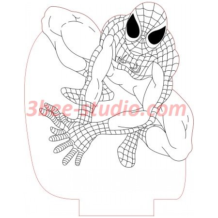 Sitting Spiderman 3d Illusion Lamp Plan Vector File V 2020 G
