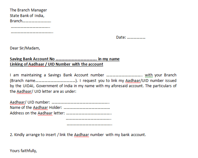 Banking Cover Letter Interesting Its Link The Existing Aadhaar Card Number Your Sbi Bank Account 2018