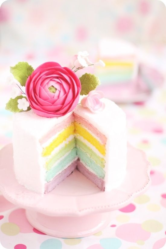 thesashabell:  Pastel Rainbow Layer Cake (by **bossacafez)