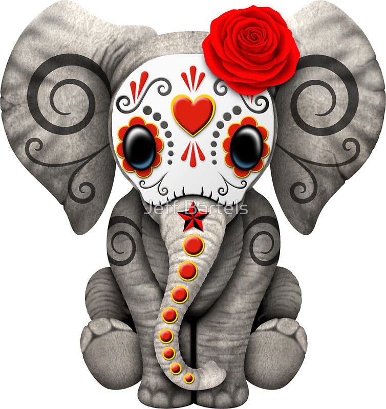 Red Day of the Dead Sugar Skull Baby Elephant | Sticker ...