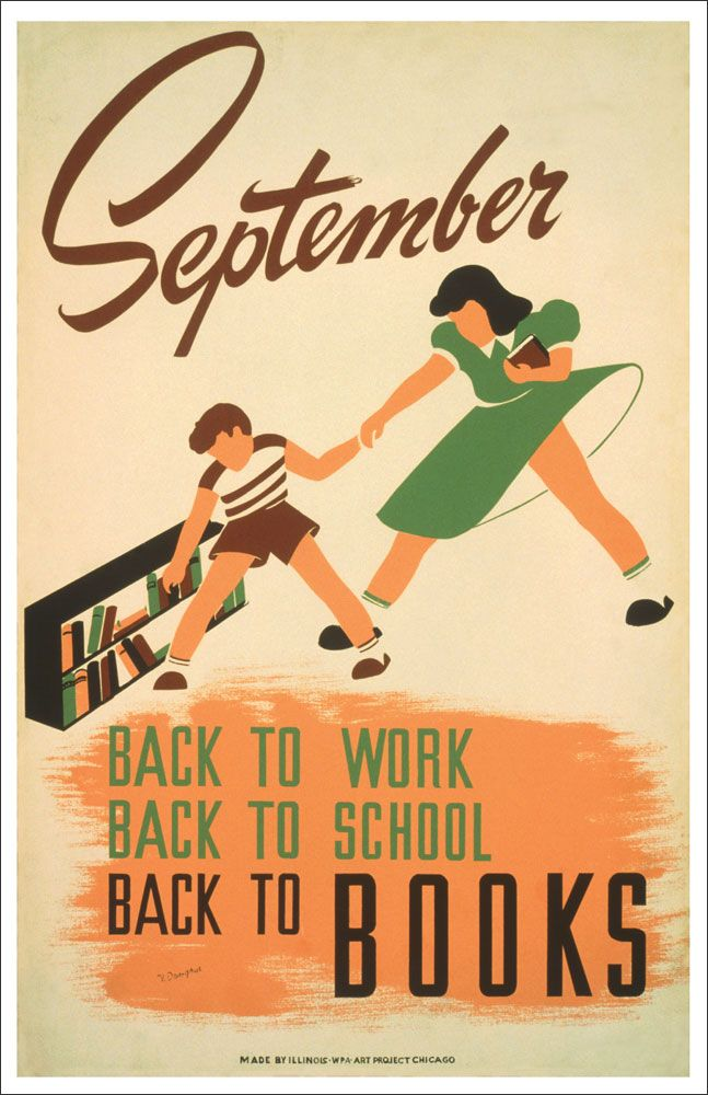 WPA READING POSTER: SEPTEMBER BACK TO SCHOOL AND BOOKS ...