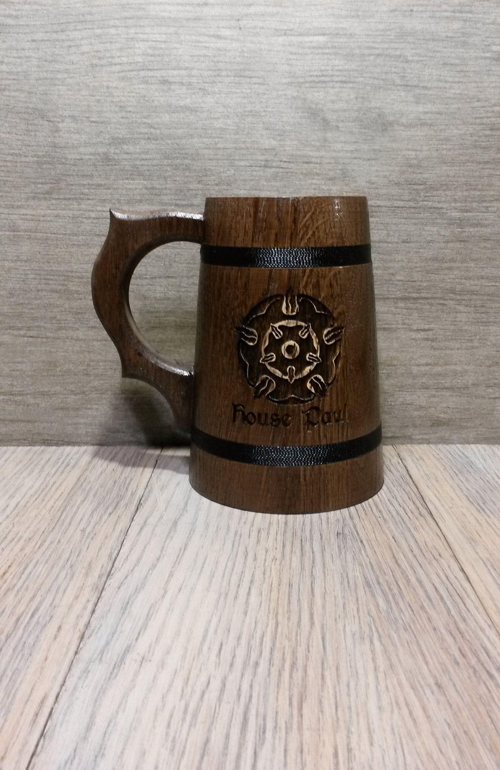 Game of Thrones wooden beer mug, gift for him, Custom name