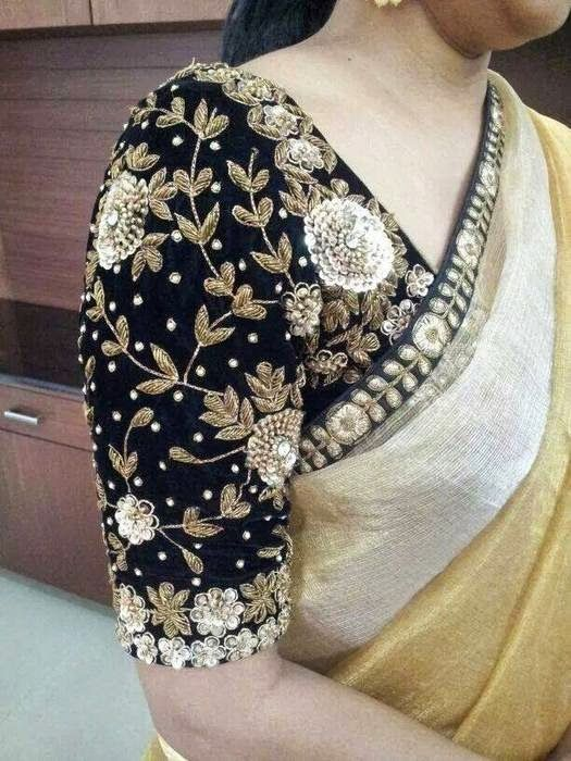 Black Velvet Blouse With Maggam Work Blouse Indian Blouse