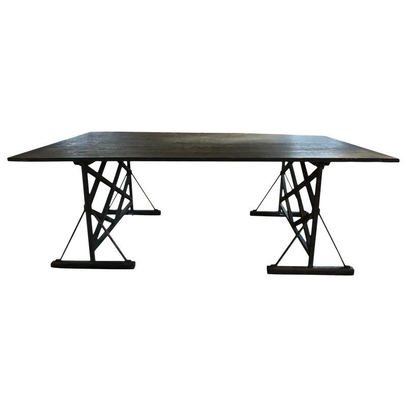 Large Antique French Trestle Table Black Glass Dining Table