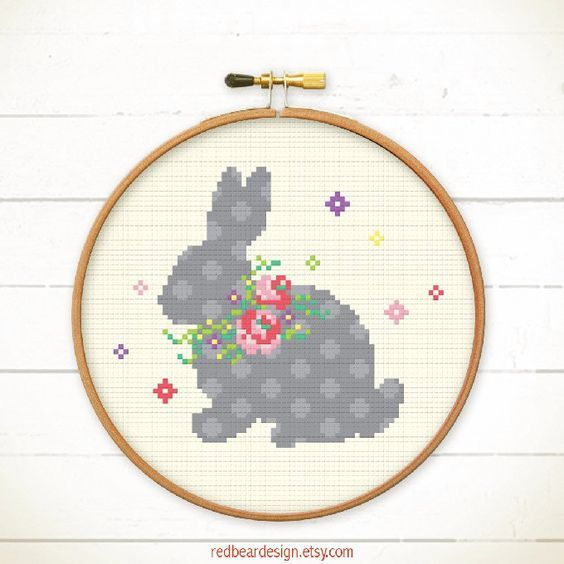 Easter cross stitch pattern Bunny with Floral by redbeardesign ...