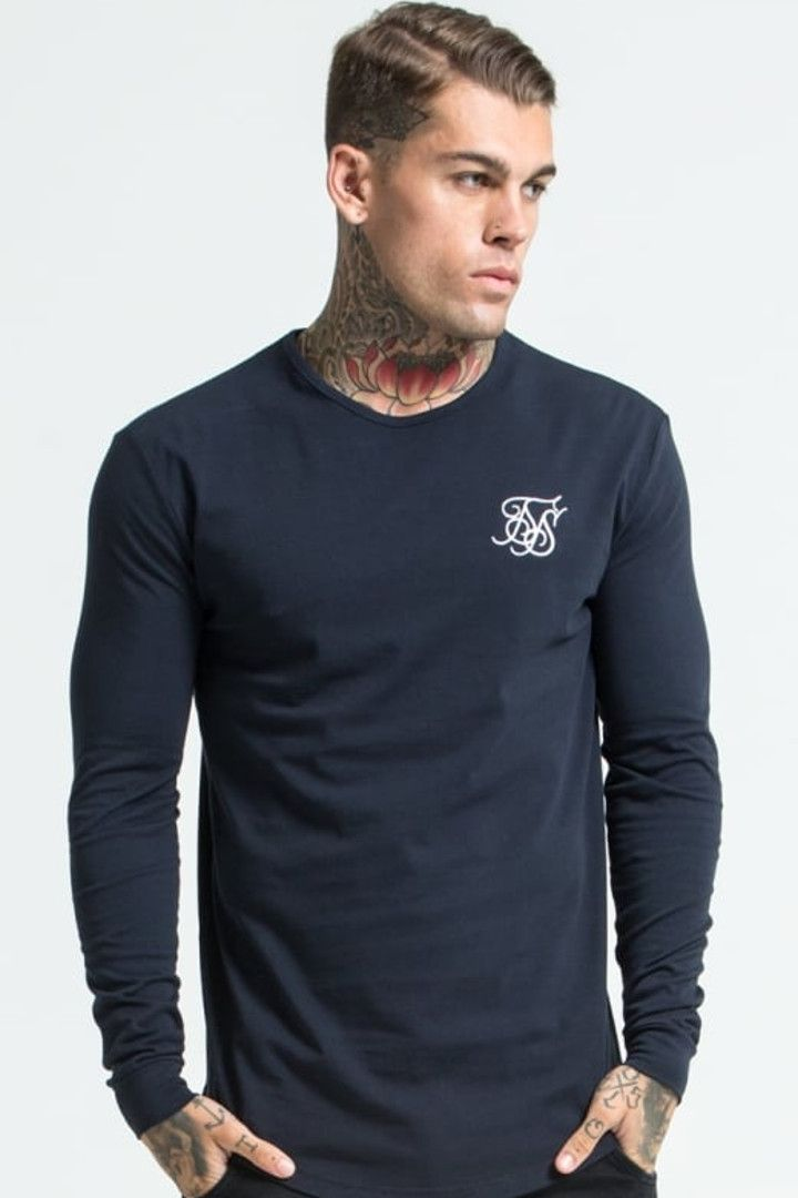 SIKSILK LONG SLEEVE GYM TEE - Camiseta manga larga - navy EyQ0cwc