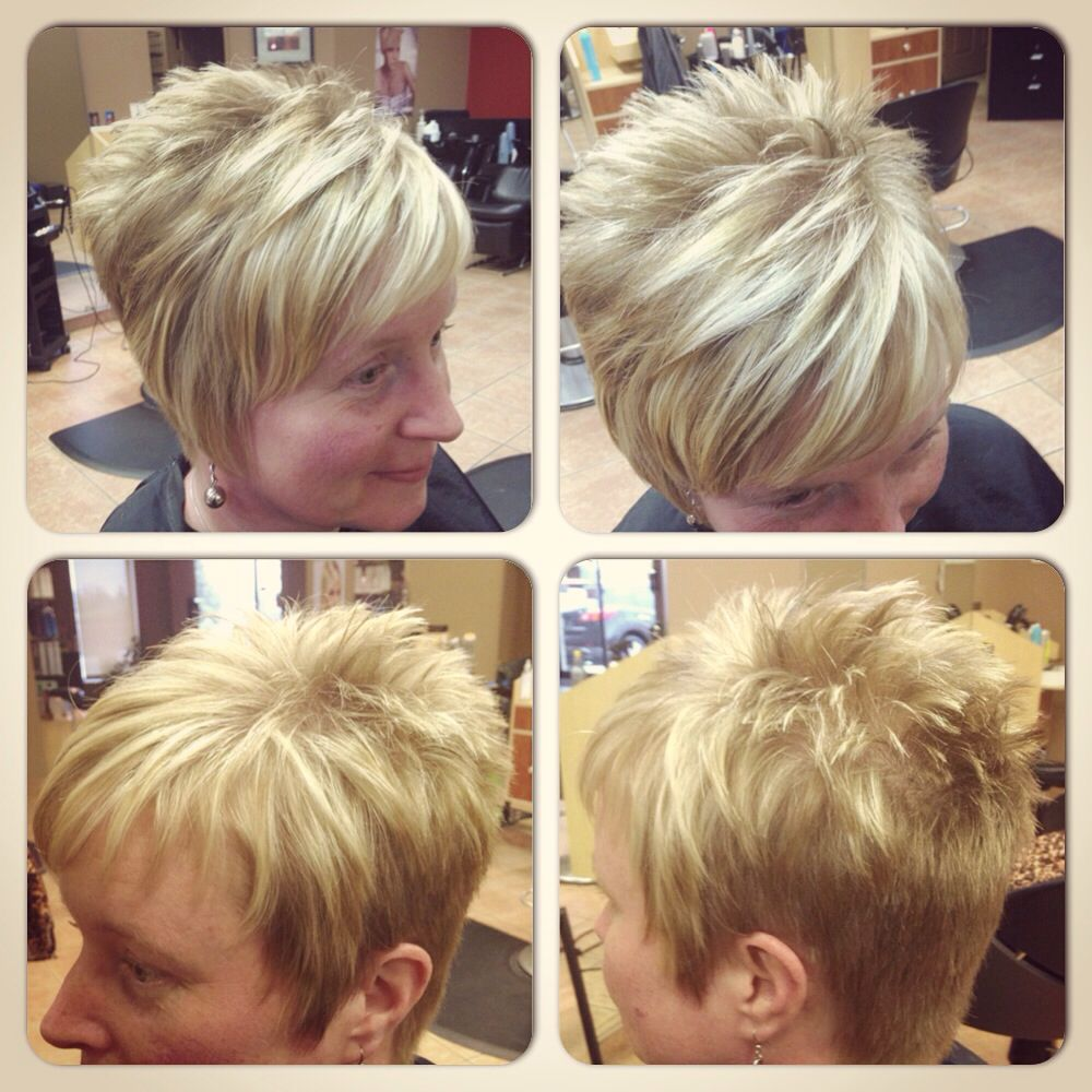 Short hair blonde highlights fun beauty Pinterest Short