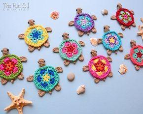 CROCHET PATTERN - Tiny Turtles - crochet turtle pattern, honu turtle motif, turtle applique, turtle ornament pattern - Instant PDF Download #crochetturtles