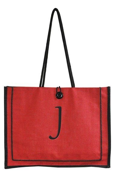 Women's Cathy's Concepts 'Newport' Personalized Jute Tote - Red