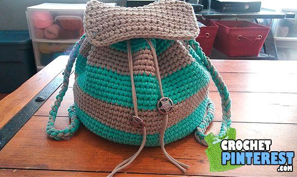 Mochila de Rayas (patrón libre) | Crochet | Pinterest | Rayas ...