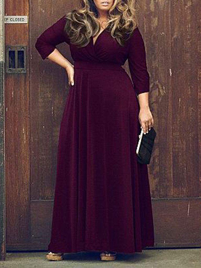 Purple V Neck 3 4 Sleeve Plus Size Skater Maxi Dress Plus Size Dresses Maxi Dress Maxi Dress Cocktail [ 1024 x 768 Pixel ]
