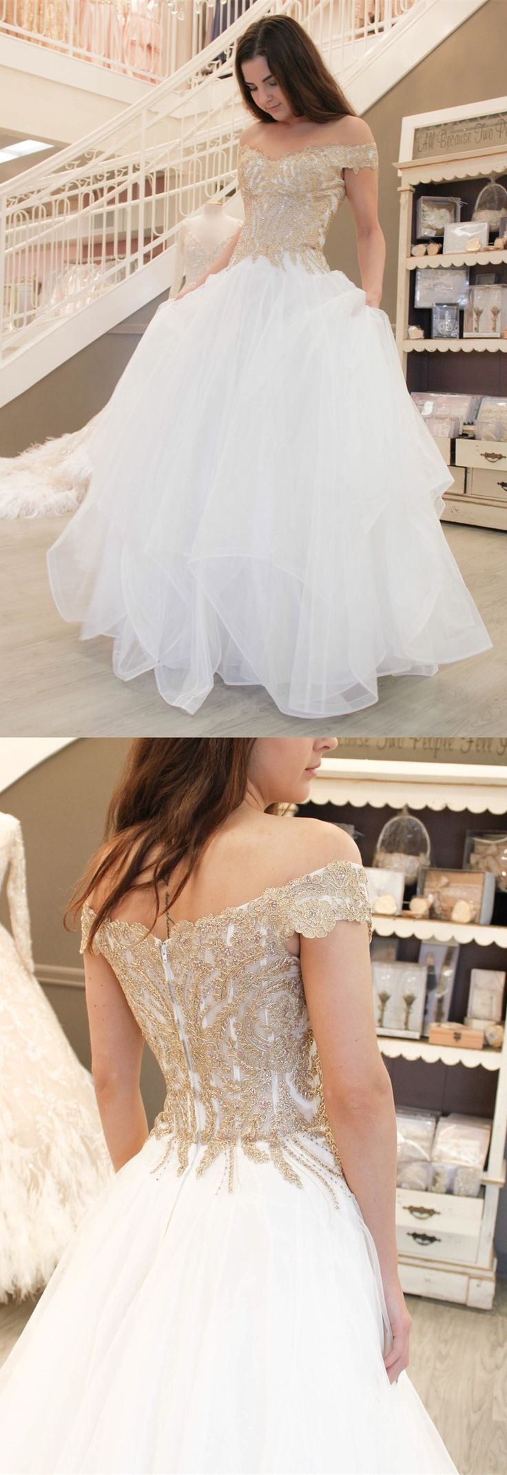 prom dress white long prom dress with gold sequins off the