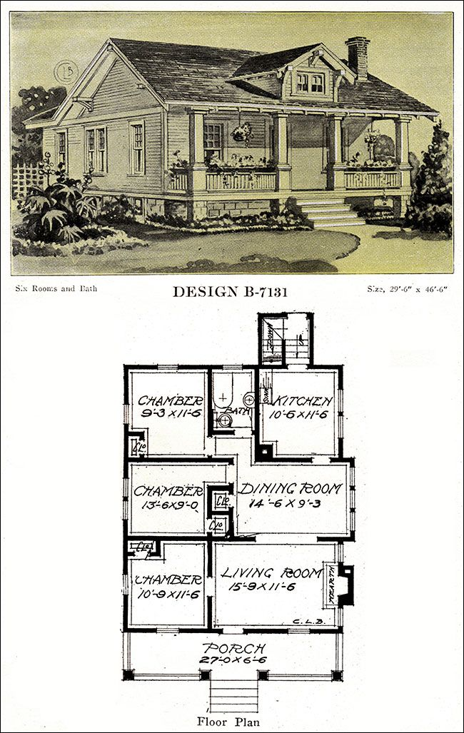 1918 Bungalow With A Full Width Porch And Gable Dormer Modern American Homes Bowes Chicago Vintage House Plans House Blueprints Tiny House Floor Plans