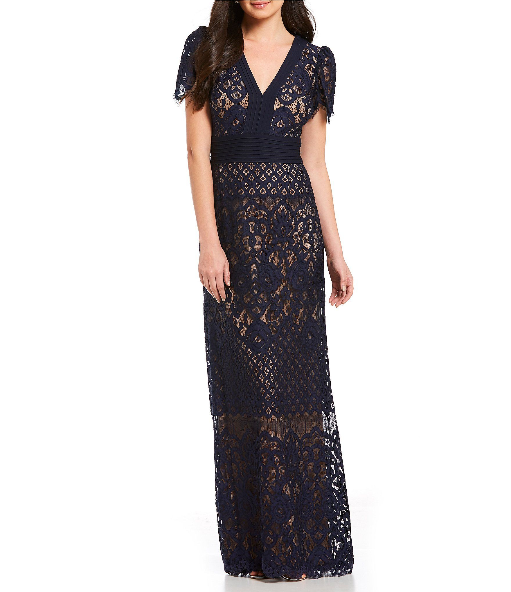 0fd76b7273500 Tadashi Shoji V Neck Lace Gown  Dillards