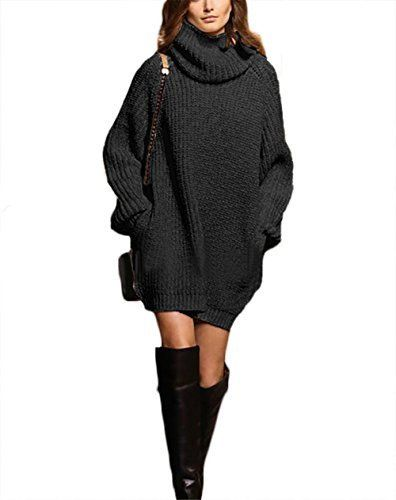 Cowl Neck Long Sleeve Knit Baggy Pullover Sweater Oversize Sweater ...