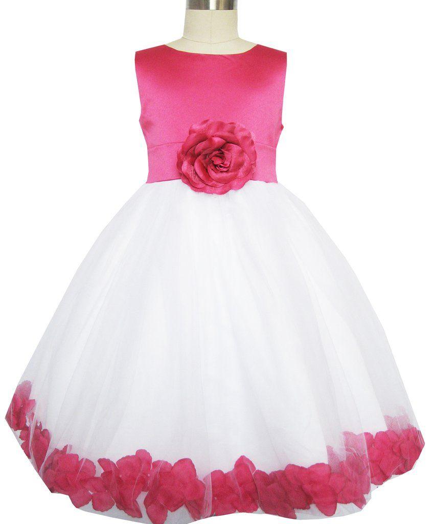 b57a56fd3ec6 Girls Dress Rose Flower Tulle Wedding Pageant Bridesmaid Size 2-14 ...