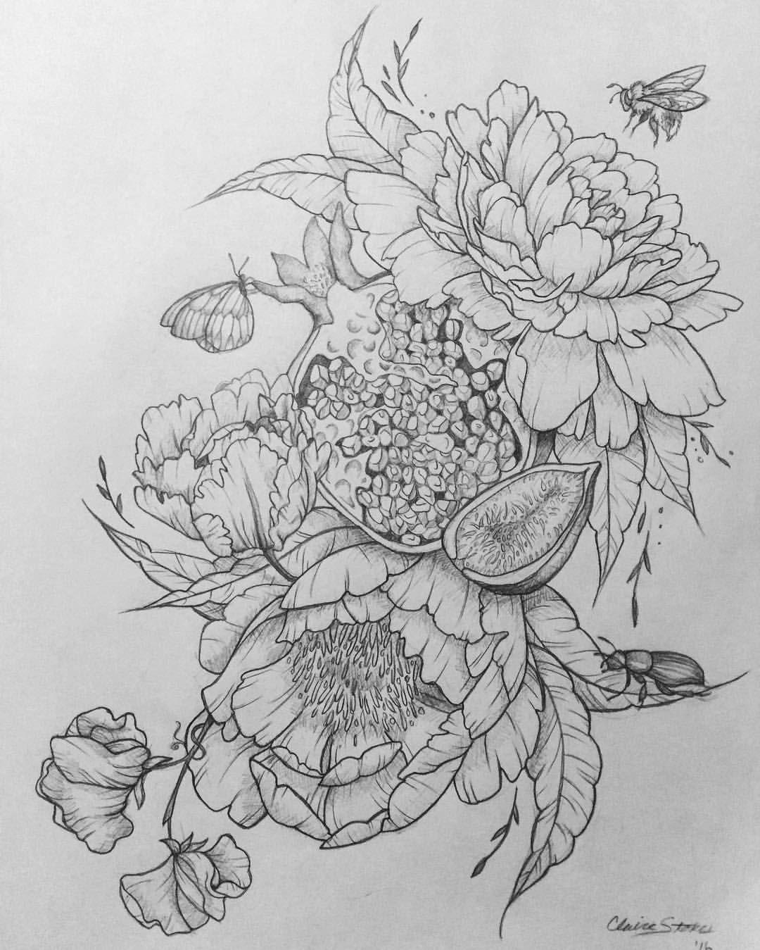Peony / Pomegranate / Sweet Peas / Moth / Honeybee