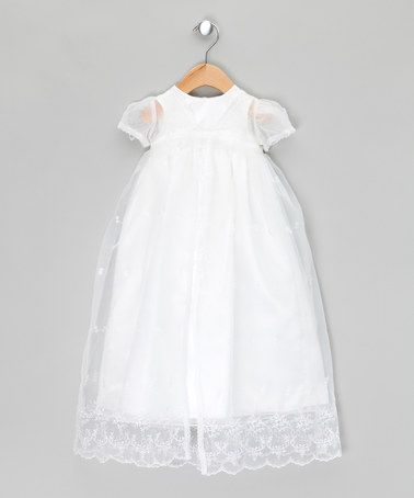 63261e58be3 White Gender Neutral Long Christening Gown with Jacket - Infant by Couche  Tot