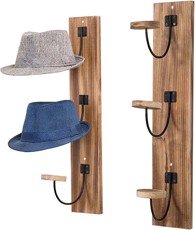Amazon Com Mygift Wall Mounted Rustic Burnt Wood Metal Wire Vertical Hat And Coat Garment Racks Set Of 2 Wall Mounted Hat Rack Wall Hat Racks Diy Hat Rack