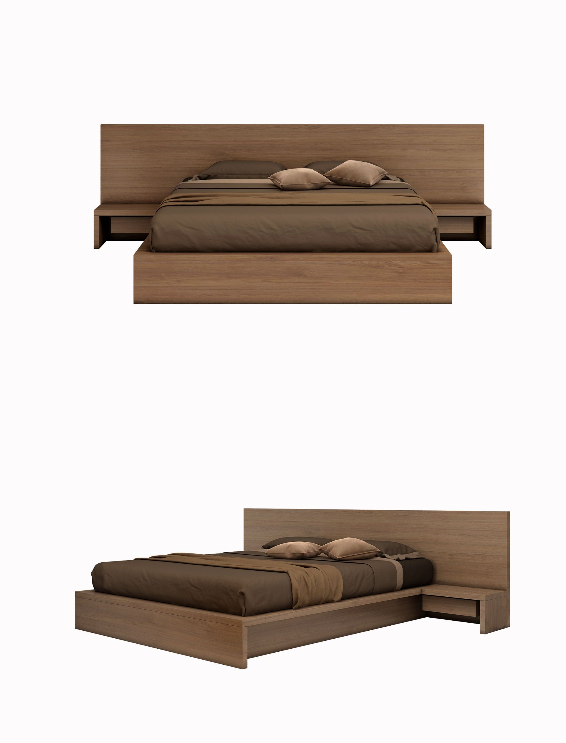 Modern Style Bed Brown Series W2850 D2245 H870 Solid Wood Frame