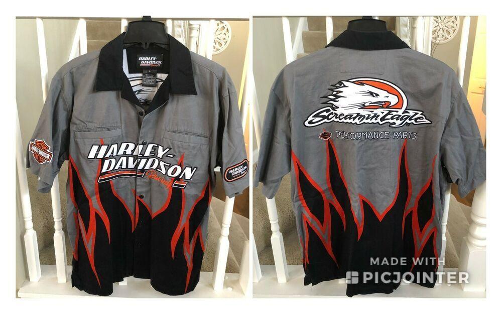 a9a4805efbc4 Mens L Harley-Davidson Racing Screamin Eagle Performance Parts Garage Shirt  #HarleyDavidson #ButtonFront