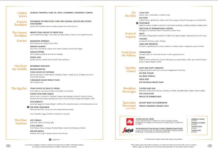 Sample breakfast menu on #MSC Divina *Subject to change* | MSC