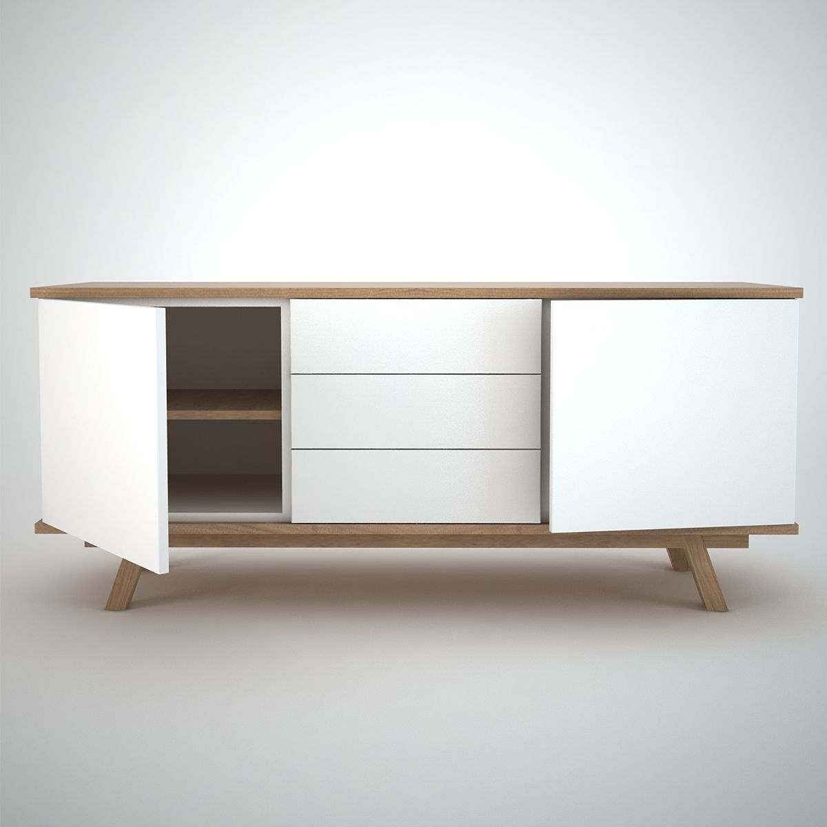 Contemporary Sideboard In White And Oak With 2 Doors And 3