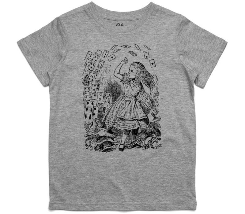 El Cheapo Alice in Wonderland - Pack of Cards (Black) Youth Grey Marle T-Shirt