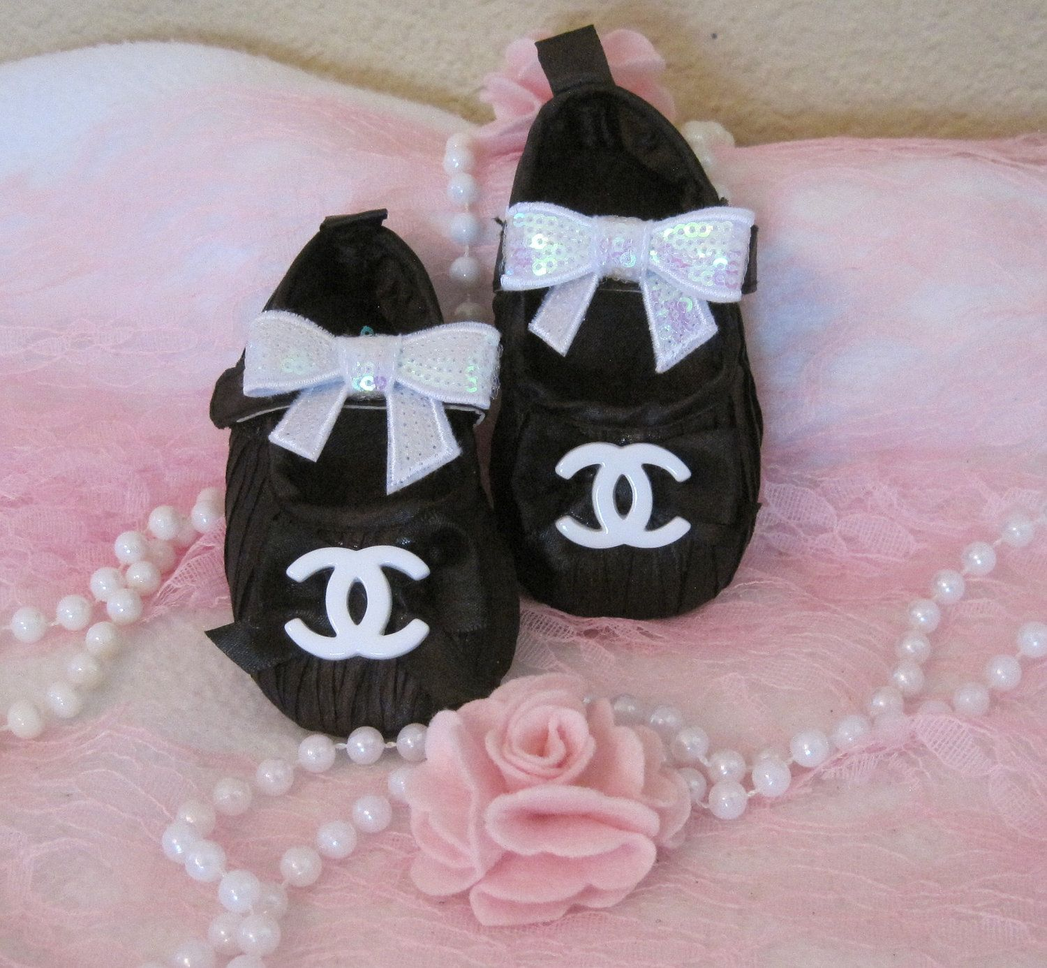 Baby shoes Chanel inspired black someday Pinterest