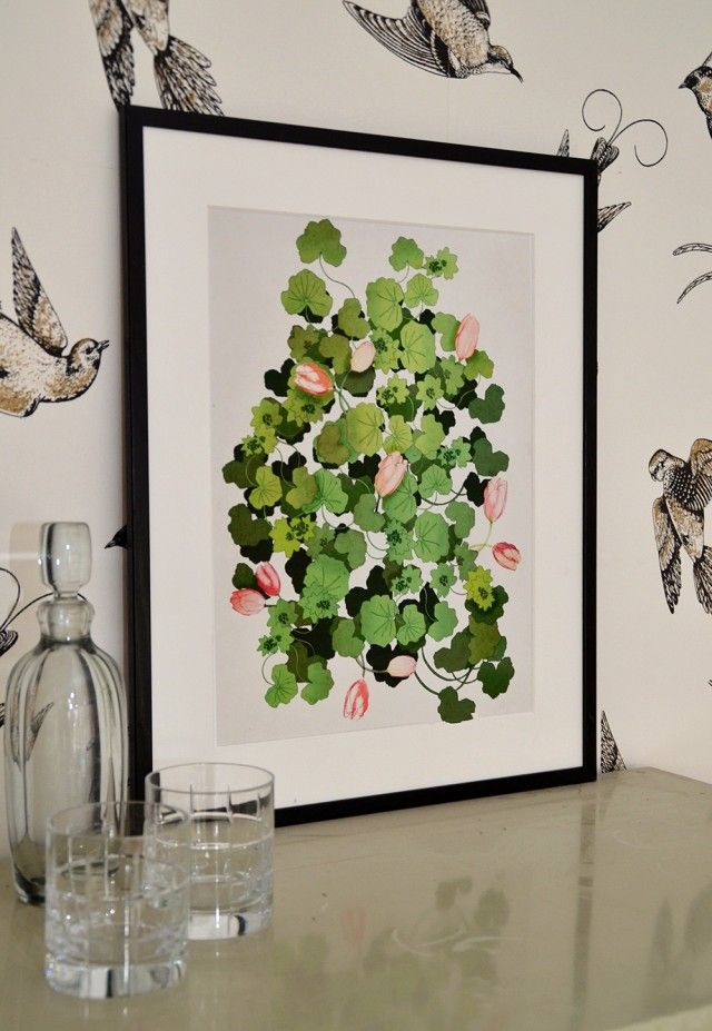 Lady's mantle and tulips II, by Anna Handell Montage. An amazing illustrated poster, printed on a beautiful paper. #nordicdesigncollective #annahandell #annahandellmontage Tulip #tulips #poster #flower #garden #ladysmantle #pink #green #spring #grow #gardening #print #printedposter #illustration