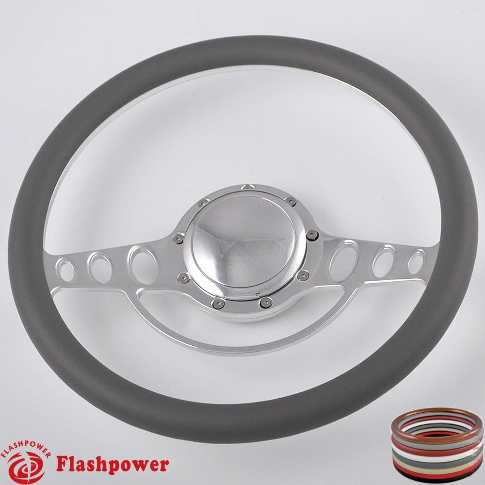 Flashpower 14 Billet Half Wrap 6 Bolts Steering Wheel with 2 Dish and Horn Button Black