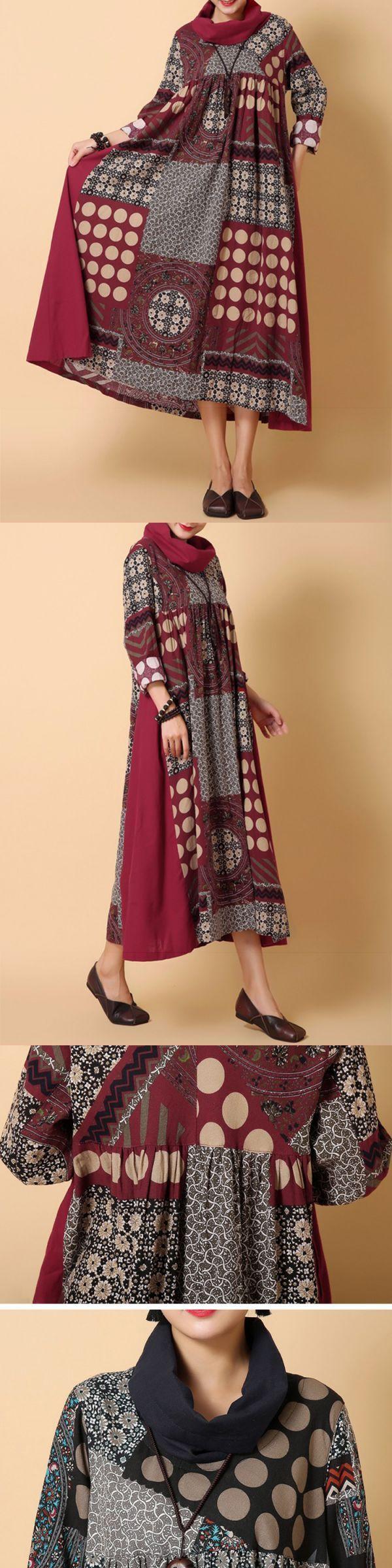 Gracila printed patchwork loose turtleneck long sleeve women dresses